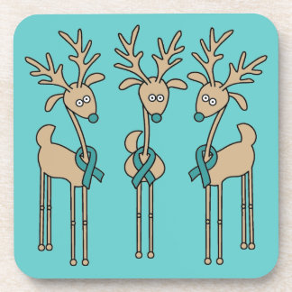Teal Ribbon Reindeer - Ovarian Cancer Beverage Coaster
