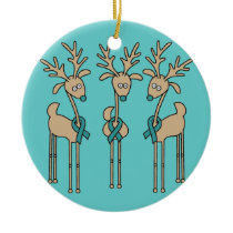 Teal Ribbon Reindeer (Ovarian Cancer) Ceramic Ornament