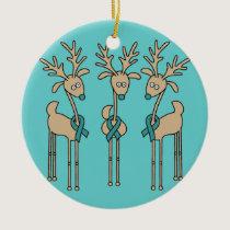 Teal Ribbon Reindeer (Ovarian Cancer) Ceramic Ornament