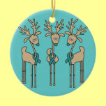 Teal Ribbon Reindeer (Ovarian Cancer) Double-Sided Ceramic Round Christmas Ornament