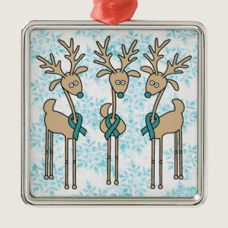 Teal Ribbon Reindeer (Ovarian Cancer) Metal Ornament