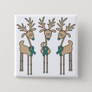 Teal Ribbon Reindeer Pinback Button