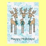 Teal Ribbon Reindeer Postcard