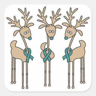 Teal Ribbon Reindeer Square Sticker