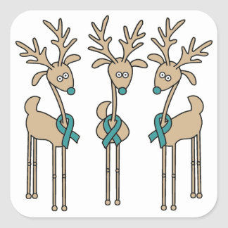 Teal Ribbon Reindeer Square Sticker