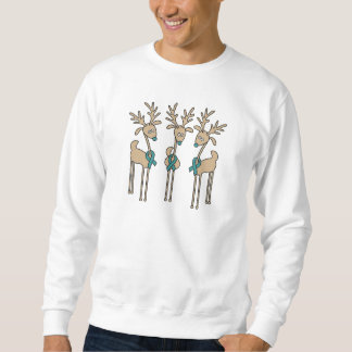 Teal Ribbon Reindeer Sweatshirt
