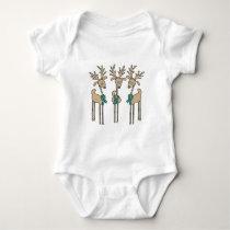 Teal Ribbon Reindeer (Uterine Cancer) Baby Bodysuit