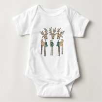 Teal Ribbon Reindeer (Uterine Cancer) Baby Bodysuit