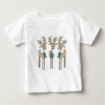 Teal Ribbon Reindeer (Uterine Cancer) Baby T-Shirt