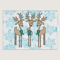 Teal Ribbon Reindeer (Uterine Cancer) Card
