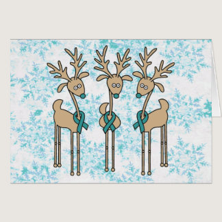 Teal Ribbon Reindeer (Uterine Cancer) Card