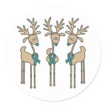 Teal Ribbon Reindeer (Uterine Cancer) Classic Round Sticker