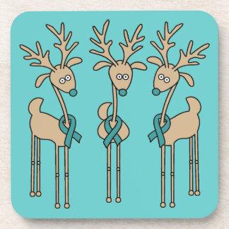 Teal Ribbon Reindeer - Uterine Cancer Drink Coaster