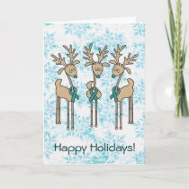 Teal Ribbon Reindeer (Uterine Cancer) Holiday Card