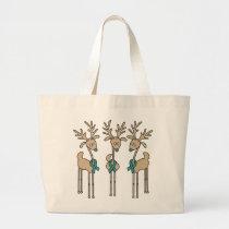 Teal Ribbon Reindeer (Uterine Cancer) Large Tote Bag