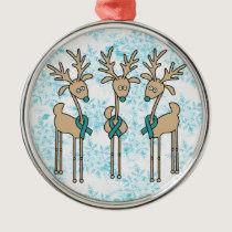 Teal Ribbon Reindeer (Uterine Cancer) Metal Ornament