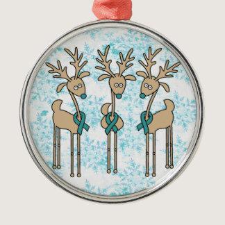 Teal Ribbon Reindeer (Uterine Cancer) Metal Ornament
