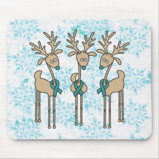 Teal Ribbon Reindeer (Uterine Cancer) Mouse Pad