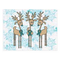 Teal Ribbon Reindeer (Uterine Cancer) Postcard