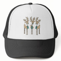 Teal Ribbon Reindeer (Uterine Cancer) Trucker Hat