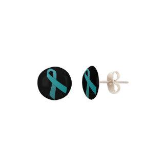 Teal Ribbon Stud earrings