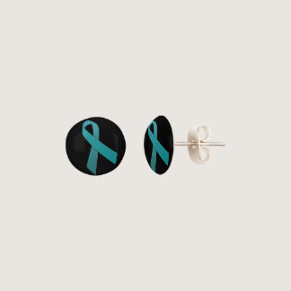 Teal Ribbon Stud earrings