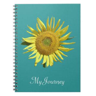 Teal Ribbon Sunflower Notebook