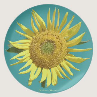 Teal Ribbon Sunflower Plate