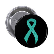 Teal Ribbon Support Awareness Pinback Button