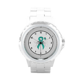 Teal Ribbon Support Awareness Wrist Watch
