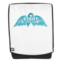 Teal Ribbon Support Ovarian Cancer Awareness Backpack