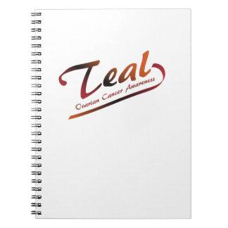 Teal Ribbon Support Ovarian Cancer Awareness Notebook