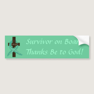 Teal Ribbon Survivor on Board bumper sticker