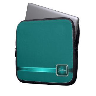 Teal Ribbon Teal Faux Jewel Monogram Laptop Laptop Sleeve