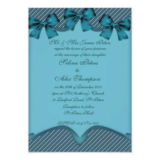 Teal  Ribbon Wedding Invitation