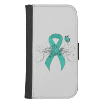 Teal Ribbon with Butterfly Samsung S4 Wallet Case