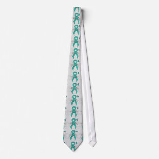 Teal Ribbon with Butterfly Tie