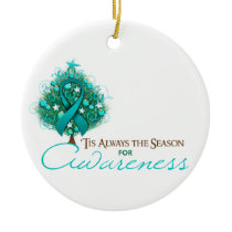Teal Ribbon Xmas Awareness Season Ceramic Ornament