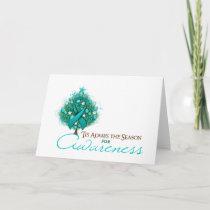 Teal Ribbon Xmas Awareness Season Holiday Card