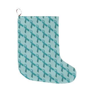 Teal Ribbons Pattern Large Christmas Stocking