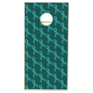 Teal Ribbons Tiled Pattern Cornhole Set