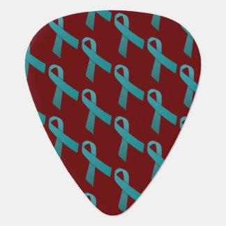 Teal Ribbons Tiled Pattern Guitar Pick