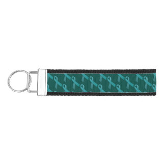 Teal Ribbons Tiled Pattern Wrist Keychain