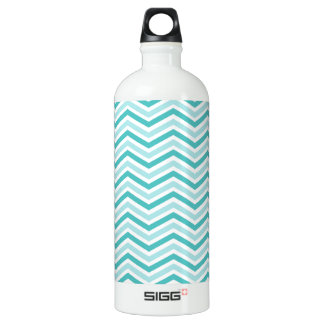 Teal, Robins Egg Blue, and White Chevron Stripes Aluminum Water Bottle
