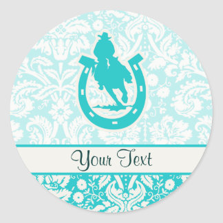Teal Rodeo Classic Round Sticker
