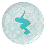 Teal Rollerblading Melamine Plate