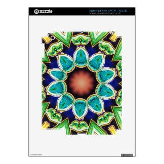Teal Rose Flower Shaped Mandala Decal For iPad 3