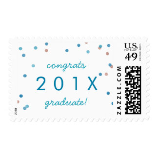 Teal & Rose Gold Confetti Graduation Announcement Postage