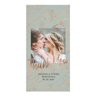 Teal & Rose Gold Palm Leaf Wedding Photo Thank You Card