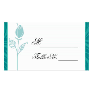 Teal Rose Graphic Wedding Place Card Business Card